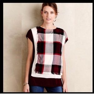 Anthropologie postmark plaid raw edge top large